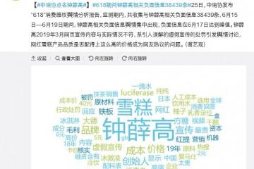 中消协点名钟薛高618负面信息近4万条